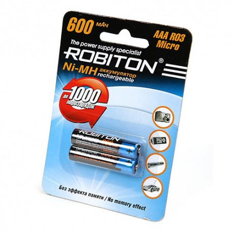 Аккумулятор ROBITON 600MHAAA-2 BL2