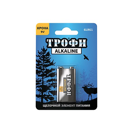 Батарейка Трофи 9V (6LR61) 1BL Крона