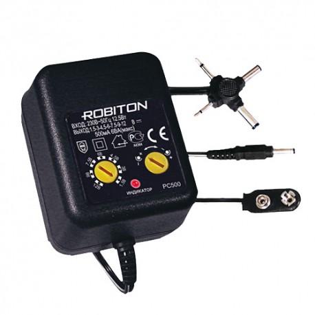 Адаптер/блок питания ROBITON PC500 500мА нестабилизированный с крестовиной BL1