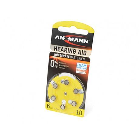 Батарейка для слухового аппарата ANSMANN Zinc Air 5013223 10 UK BL6