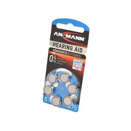 Батарейка для слухового аппарата ANSMANN Zinc Air 5013253 675 UK BL6