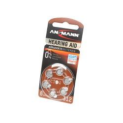 Батарейка для слухового аппарата ANSMANN Zinc Air 5013233 312 UK BL6